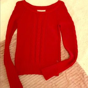 American Eagle Red Cable Sweater